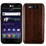 LG Connect 4G Screen Protector + Dark Wood Full Body, Skinomi TechSkin Dark Wood Skin for LG Connect 4G with Anti-Bubble Clear Film Screen