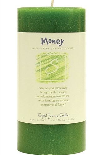 Crystal Journey, Candle Money Pillar - Each Cancle Comes With An Affirmation And Inpirational Message Fragrance Is A Mixture Of Clove, Cinnamon, Nutmeg, Myrrh, Citronella, Rain 3 Inches In Diameter, 6 Inches High - living-room-decor, living-room, candles - 41HzZaG8dsL -