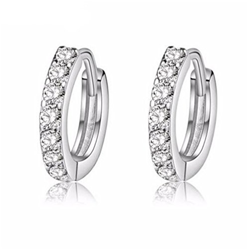 Uloveido Silver Huggie Small Hoop Earring Channel Set with Cubic Zirconia - Faster Shipping Wish On