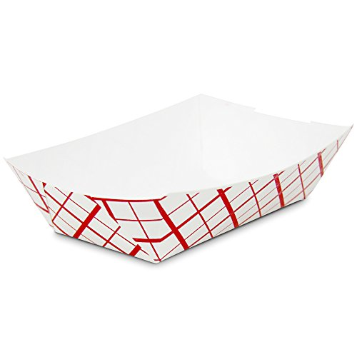 2 lb Heavy Duty Disposable Red Check Paper Food Trays Grease Resistant Fast Food Paperboard Boat Basket for Parties Fairs Picnics Carnivals, Holds Tacos Nachos Fries Hot Corn Dogs [250 Pack] by Fit Meal Prep (Image #1)