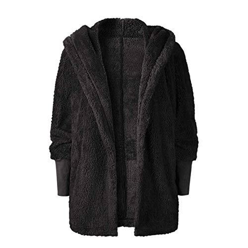 abrigo Outwear M con larga Mujer con Black gruesa Fleece ZFFde Invierno invierno capucha Faux manga capucha tamaño con Color WqU8076vw