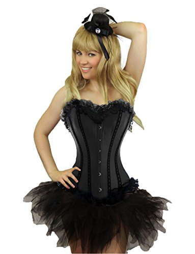 Yummy Bee Womens Burlesque Corset + Tutu Skirt Costume Size 8 Black]()