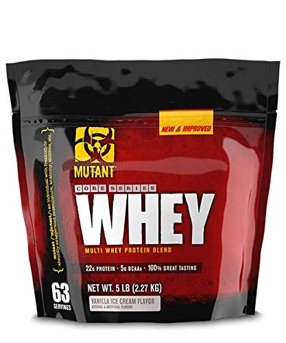 Mutant Whey Muscle Building Whey Protein Powder Mix in Great Flavors and Enzyme Fortified for Optimum Nutrition, 5 lb Vanilla Ice Cream