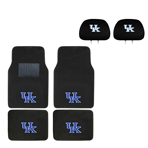 University of Kentucky Head Rest Cover and Floor mat.Logo On Front and Rear Auto Floor Liner. You get 2 headrest covers and 4 Floor Mat in this gift set. Perfect to University of Kentucky WildCats Fan