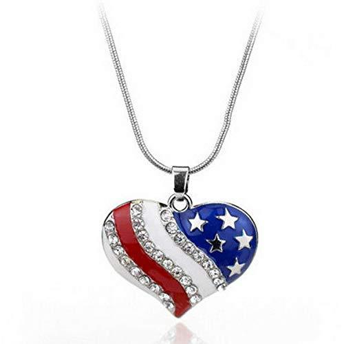 Werrox Crystal Star Heart American USA Flag Pendant Patriotic Bib Necklace Jewelry Gift | Model NCKLCS - 26824 |