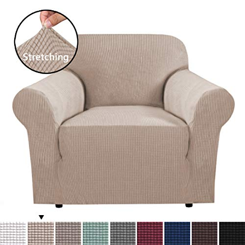 H.VERSAILTEX High Stretch Sofa Cover 1 Piece Furniture Protector Sofa Cover Non Skid Machine Washable, Sofa Chair Covers for Living Room Durable Spandex Fabric Super Soft Slipcover- Sand (Online Set Sofa)