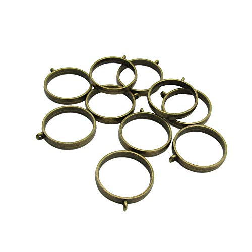 10 Pcs 25mm Antique Bronze Round Open Back Bezel Pendant Zinc Alloy  Round Frame Pendant with 1 Loop for Jewelry Making