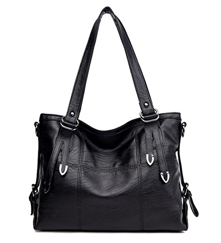 Hobo Totes FairyBridal Bags Capacity for Women Vintage Soft Large Satchels Black Leather qwq7gvtx1