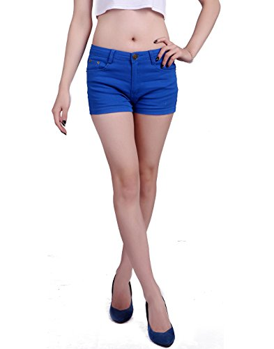 Dark Blue Short (HDE Women's Solid Color Ultra Stretch Fitted Low Rise Moleton Denim Booty Shorts (Dark Blue , Large))