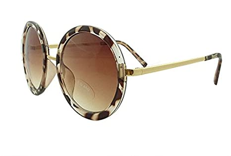 69a235eb294 Amazon.com   Mei Kaidi Leopard Sunglasses Lovely Big Round Glasses Prince  Mirror Round Frame Sunglasses   Office Products