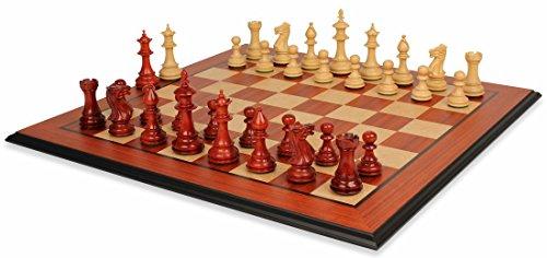 Royal Staunton Chess Set in African Padauk & Boxwood with Molded Padauk Chess Board - 4