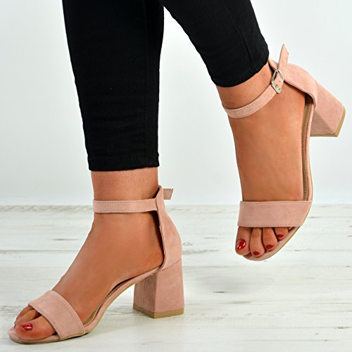 Cucu Fashion New Womens Ladies Mid Block Heel Ankle Strap Peep Toe Shoes Sandals Sizes Pink wvQIv