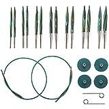 "Knit Picks Options 2-3/4"" Short Tip Interchangeable Wood Knitting Needle Set (Caspian)"