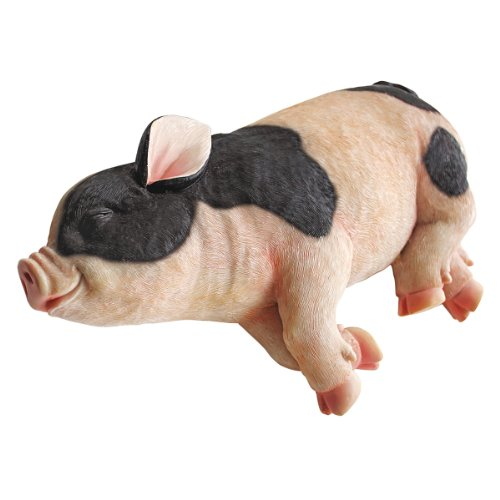 Design Toscano Sleeping Pig Garden Farm Animal Statue, 12 Inch, Polyresin, Full Color from Design Toscano