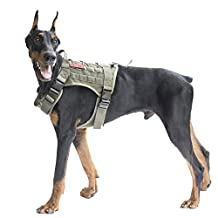 OneTigris Tactical Dog Vest Harness – Water-resistant Comfortable Military Patrol K9 Service Dog Harness with Handle (Large, Ranger Green)