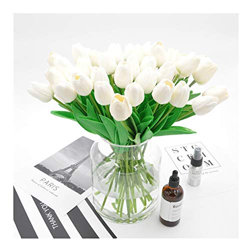 Homyu Artificial Tulips Single Stem PU Touched 10 Pcs Arrangement Bouquet with Glorious Moral for Home Office Wedding Parties -