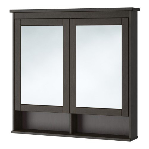 Ikea Mirror cabinet with 2 doors, black-brown stain 40 1/2x6 1/4x38 5/8 -