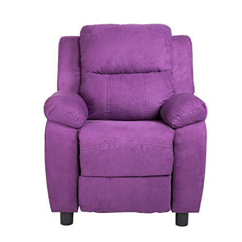 Harper&Bright Designs Kids Recliner with Cup Holder Fabric Sofa Chair for Child (Purple Fabric) from Harper&Bright Designs