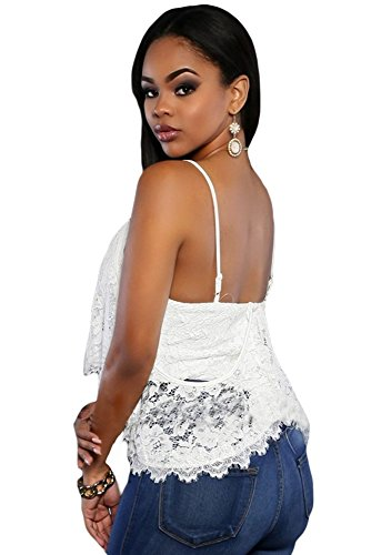 New Ladies White irregular capas Encaje Chaleco Club Wear Tops Casual Wear ropa tamaño S UK 8 –�?0