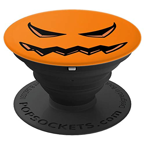 Pumpkin Horror Face Halloween Creepy Scary Orange - PopSockets Grip and Stand for Phones and Tablets