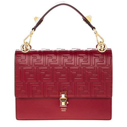 Bag Fendi Red (Fendi Women's Kan I FF Embossed Shoulder Bag Red)