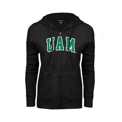 CollegeFanGear Arkansas Monticello ENZA Ladies Black Fleece Full Zip Hoodie Arched UAM