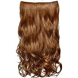 Hair Extensions Human Hair,Honhui Real Thick Double Weft Full Head Clip in Hair Extensions Highlight Straight Wavy Curly Wig for Women (D)