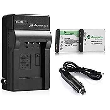 Powerextra 2 x batteries + Charger EN-EL19 for Nikon Coolpix S32, S100,  S2800, S3200, S3300, S3500, S3600, S4100, S4200, S4300, S5200, S5300,  S6500, S6600, ...