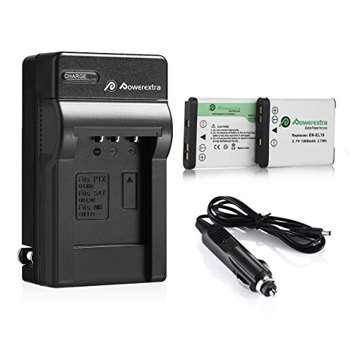 Powerextra 2 x batteries + Charger EN-EL19 for Nikon Coolpix