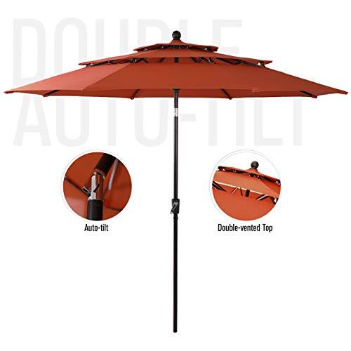 PHI VILLA 10ft 3 Tier Auto-tilt Patio Umbrella Outdoor Double Vented Umbrella, Orange Red (Home Umbrellas Patio At Depot)