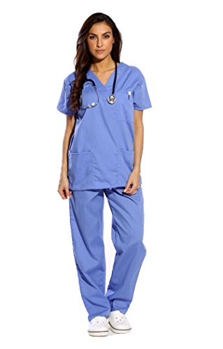 Just Love Women's Scrub Sets Six Pocket Medical Scrubs (V-Neck With Cargo Pant), Ceil, Small