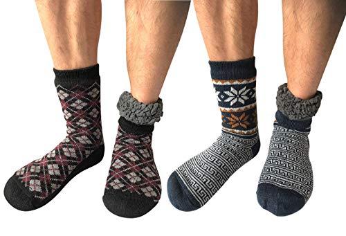 (2 Pairs Men Winter Thermal Fleece Lined Knit Thick Slipper Socks Non Skid Socks (2 Pairs (Navy/Black+Plum)))