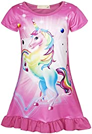 AmzBarley Girls Nightgowns Sleepwear Unicorn Sleep Shirts Short Sleeve Kids Pajamas Night Sleep Dress