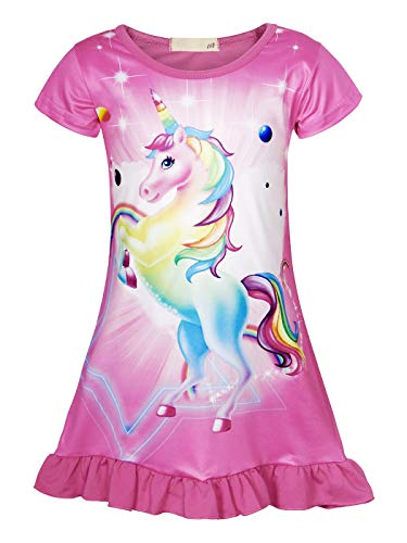 Cotrio Unicorn Nightgowns Girls Rainbow Nightie Dresses Sleepwear Pajamas Dress Nightshirt Halloween Outfits Clothes (5-6Years, Rose Red, 130) -
