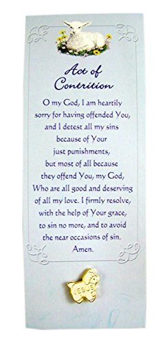 First Reconciliation Jesus Lamb Lapel Pin with Act of Contrition Bookmark, 1/2 inch