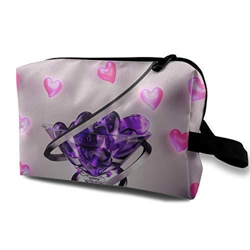 Wine Glass Love Heart Cosmetic Bags Makeup Organizer Bag Pouch Zipper Purse Handbag Clutch Bag