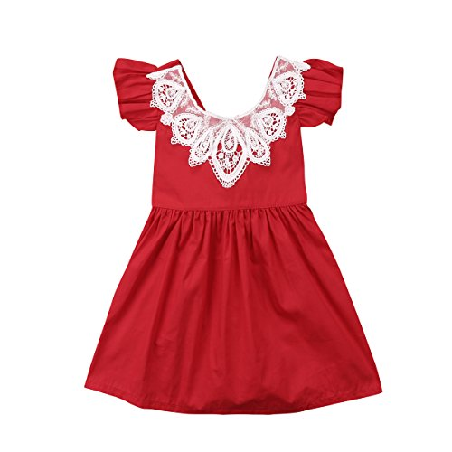 Infant Toddler Flower Girl Romper Lace Collar Cotton Ruffle Sleeve Baby Girls Spring Dresses (6-12 Months, Red)