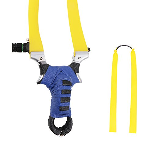TOPARCHERY Flat Band Slingshot Hunting Detachable Catapult, Upgrade Vision with Rubber Bands, Aiming Points (Blue)