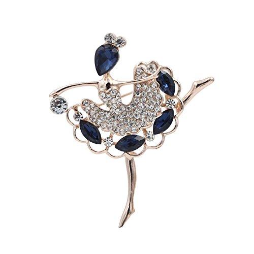 [Totoroforet Ballet Dancing Girl Zircon and Rhinestones 14K Gold Plating Brooch/Pin—Navy Blue] (Diy Incredibles Costume)