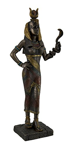 Egyptian Goddess Hathor Holding a Cobra Statue