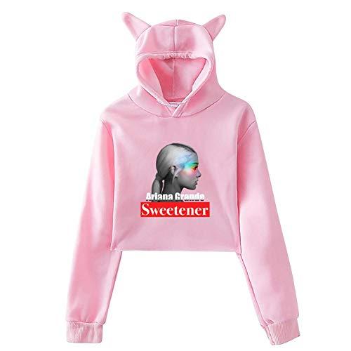 Women Sweetener_Gran_de Leak Navel Hoodie Pop Hoody Crop Top Cat Hooded Sweatshirt Blouse Pink