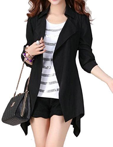 UUYUK-Women Roll 3/4 Sleeve Plus Size Open Front Lapel Casual Cardigan Black US 3XL Roll Sleeve Cardigan