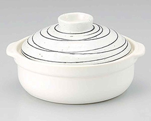 Kobiki Black-Line for 2-3 persons 8.6inch Donabe Japanese Hot pot White Ceramic Made in Japan by Watou.asia