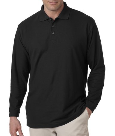 (UltraClub Adult Long-Sleeve Whisper Pique Polo)