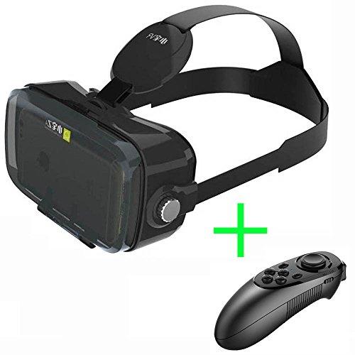 "Immersive Z4 Mini VR Headset, Virtual Reality Glasses, Xiaozhai VR 3D Goggles, for 4.7-6.2"" Smartphones, + Bluetooth Remote Controller, HorzQueen (BLK Z4 MINI + Bluetooth Controller)"