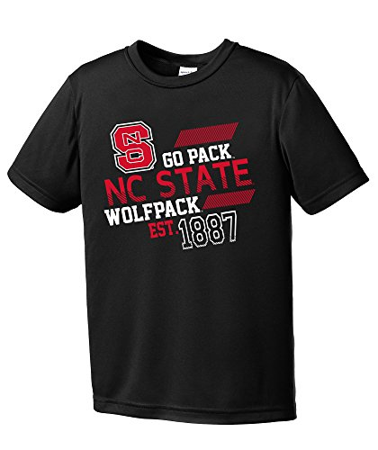 NCAA North Carolina State Wolfpack Youth Boys Offsides Short sleeve Polyester Competitor T-Shirt, Youth X-Large,Black (State Nc Apparel University)