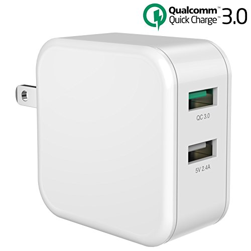 30W USB Quick Charge 3.0, Inpher QC 3.0 and 2.4A Dual Ports Power Adapter with Smart ID, Foldable Plug for Samsung Galaxy, iPhone, iPad, LG, Google Pixel, Tablet and more