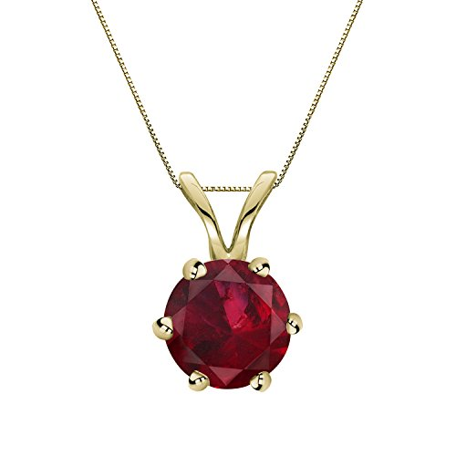 14K Yellow Gold 6 prong Basket Ruby Gemstone Solitare Pendant Necklace (1/4 cttw) 18