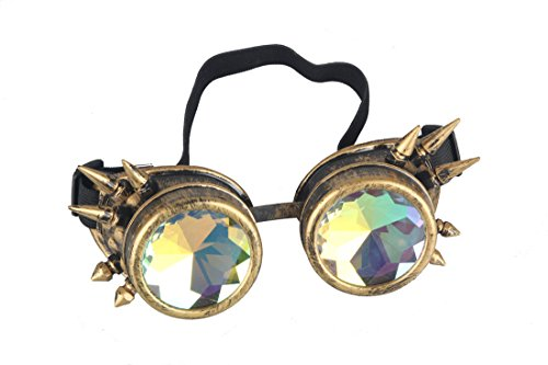 Rainbow Crystal Lenses Steampunk Glasses Chrome Finish Gotchic Welder Goggles,Brass,Adjustable