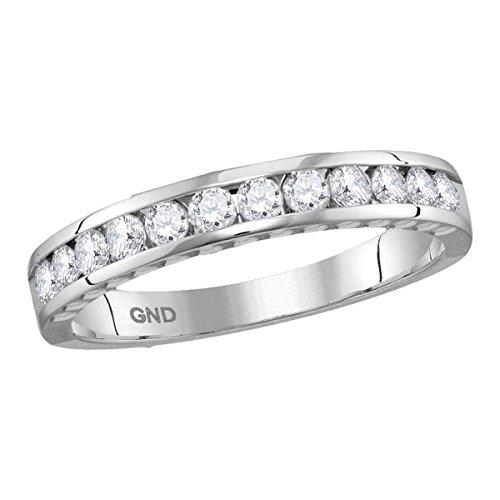 (14kt White Gold Womens Round Diamond Wedding Anniversary Band Ring 1/2 Cttw)